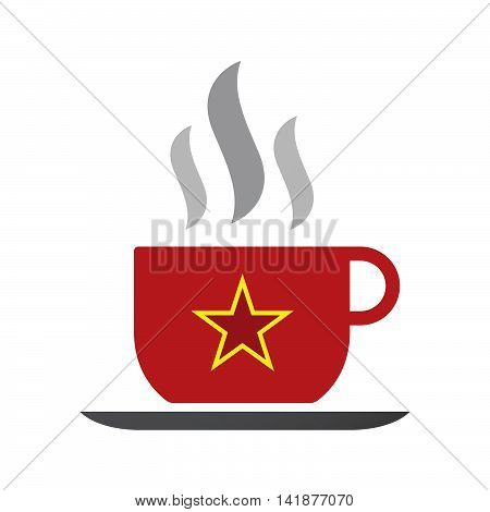Isolated Coffee Cup Icon With  The Red Star Of Communism Icon