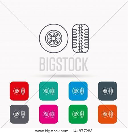 Tire tread icon. Car wheel sign. Linear icons in squares on white background. Flat web symbols. Vector
