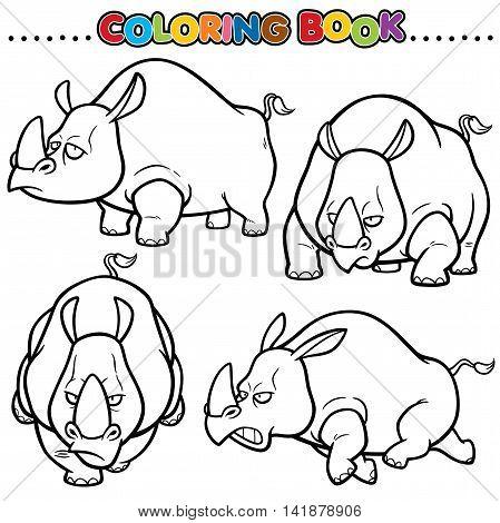 Vector Cartoon Animals Coloring Book - Rhinos