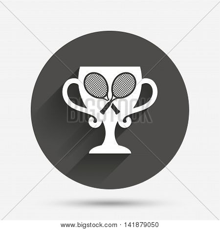 Tennis rackets sign icon. Sport symbol. Winner award cup. Circle flat button with shadow. Vector