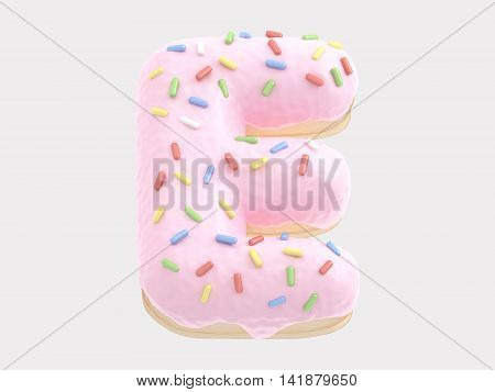 The font in the form of a donut with pink cream and multi-colored candy