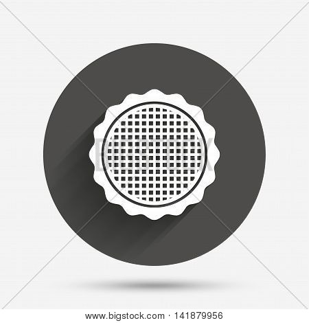 Canvas for embroidery sign icon. Tailor symbol. Circle flat button with shadow. Vector