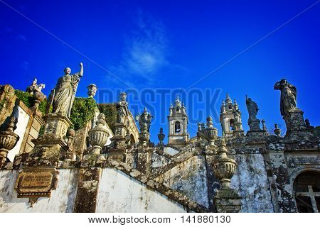 Sculptures of Bom Jesus do Monte, Braga, Portugal, toned