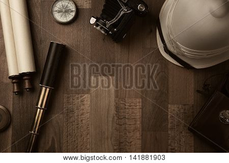 High angle view of a colonial style vintage traveler equipment with copy space