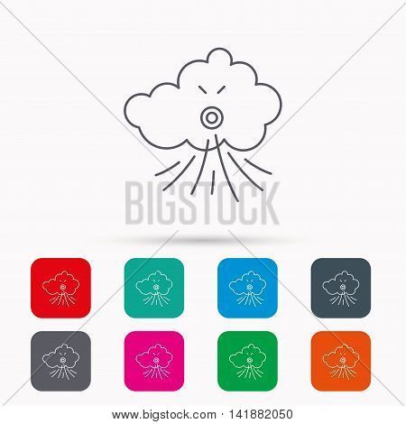 Wind icon. Cloud with storm sign. Strong wind or tempest symbol. Linear icons in squares on white background. Flat web symbols. Vector