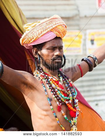 ALLAHABAD, INDIA  FEB 13th - A young  sadhu at the Kumbha Mela on February 13th 2013