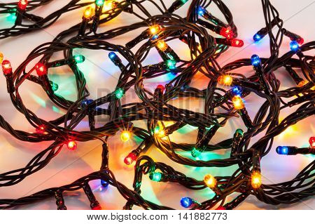 Background of colorful Christmas lights