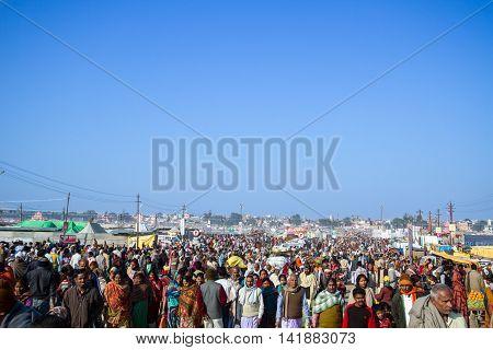 Allahabad India- CIRCA Jan 2013 - Crowds of pilgrims during the Kumbha Mela in Allahabad India circa Jan 2013.