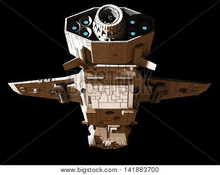 Science fiction illustration of an interplanetary spaceship, isolated on black, underneath rear view with blue engine glow, digital illustration (3d rendering)