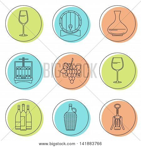Collection of line style winemaking icons on colorful circles. Vector illustration. Can be used for web page banner info graphics