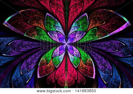 Multicolored symmetrical fractal pattern as flower or butterfly in stained-glass window style. On black. Computer generated graphics.