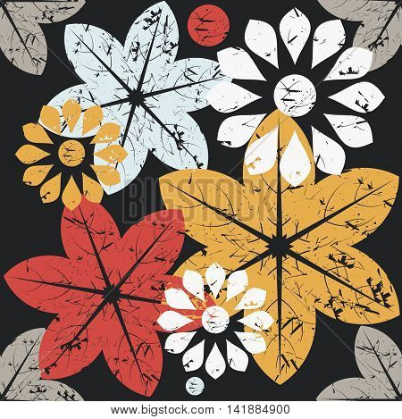 Autumn seamless pattern with elegant flowers isolated on black background.