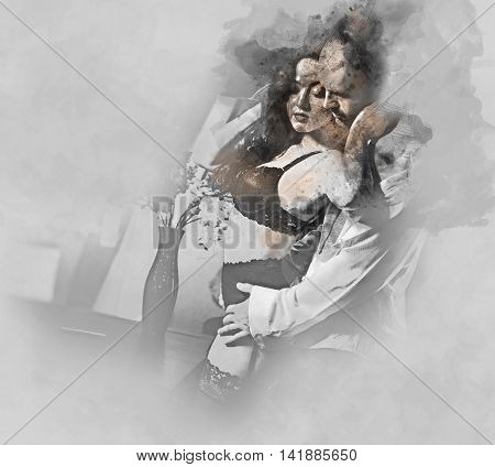 Digital watercolor painting of a couple. Sensual brunette in black lingerie and handsome man. Office romance concept