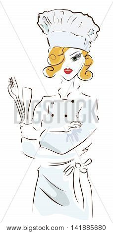 Chef woman with a hat. Illustration of a Cook with Spoon  and a  Fork, vector
