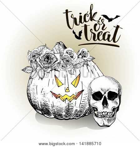 Vector poster greeting card for Halloween. Pumpkin wearing the rose floral crown. Vintage hand drawn illustration. Decorated with human skull and lettering. Trick or treat