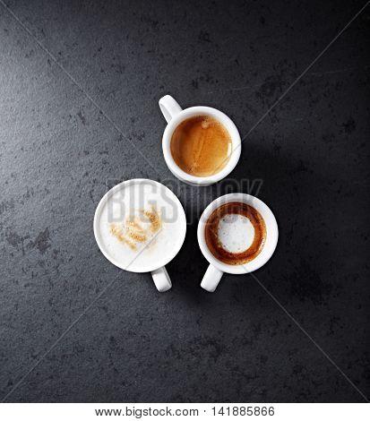 Cup of cappuccino, espresso macchiato and espresso