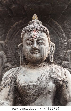 A carving of lord buddha in Nepal.