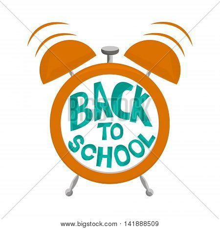 Alarm clock with bells and text Back to school. Alarm clock isolated on white background.Vector Illustration