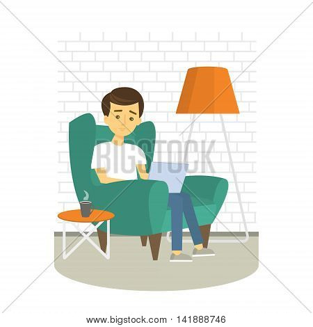 Young Man relaxing on armchair and browsing Internet . Man with laptop at home. Vector illustration