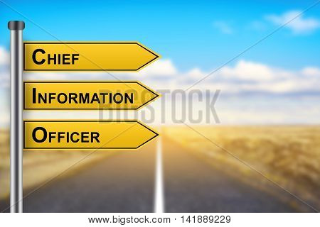 CIO or Chief information officer words on yellow road sign with blurred background