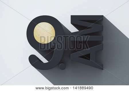 Early morning concept with abstract voluminous 9 AM text and coffee on light grey background. 3D Rendering