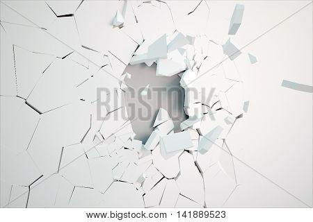Broken white wall surface revealing grey concrete underneath. 3D Rendering