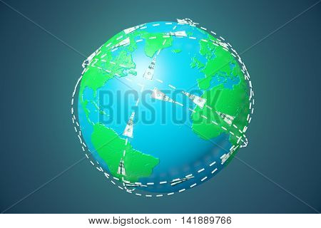 Terrestrial globe with dollar bill airplanes network on grey background. 3D Renderinf