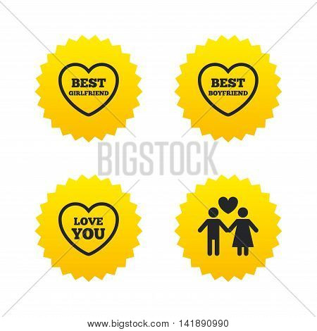 Valentine day love icons. Best girlfriend and boyfriend symbol. Couple lovers sign. Yellow stars labels with flat icons. Vector