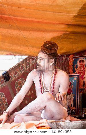 VARANASI, INDIA - FEB 18 - A Naga in Varanasi on February 18th 2013