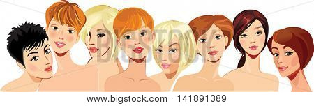 portrait of face beautiful girls in straight