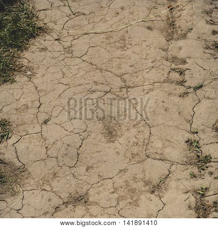 Let's Save The Earth. Crack Soil On Dry Season, Global Worming Effect.