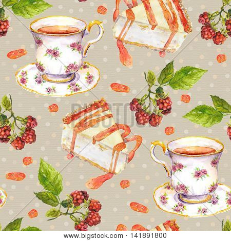 Seamless speckled background with tea cup, raspberry fruit and cakes on polka dots backdrop with peas