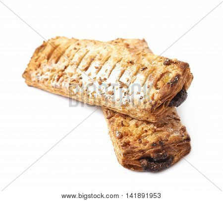 Pile of sweet chocolate pastry buns isolated over the white background