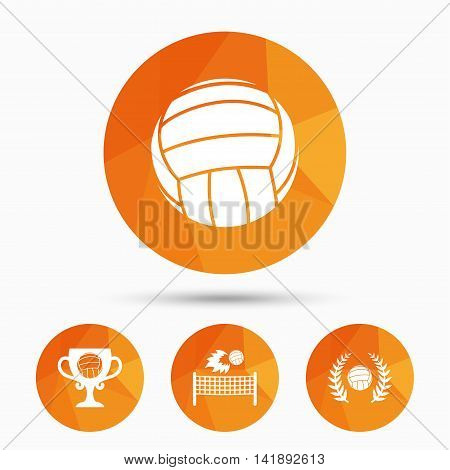 Volleyball and net icons. Winner award cup and laurel wreath symbols. Beach sport symbol. Triangular low poly buttons with shadow. Vector