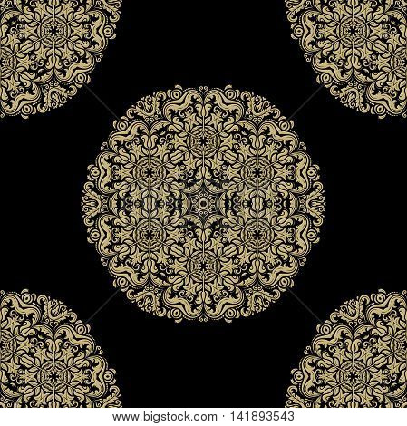 Oriental classic pattern. Seamless abstract pattern with repeating elements. Black and golden pattern. Round yellow pattern. Asian pattern. Fine orient pattern