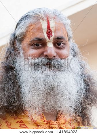 VRINDAVAN, INDIA - OCT 3rd - An old sadhu wearing tilak on his forehead, denoting his devotion to Krishna on October 3rd 2009.