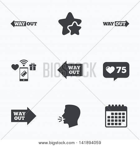Way out icons. Left and right arrows symbols. Direction signs in the subway. Flat talking head, calendar icons. Stars, like counter icons. Vector