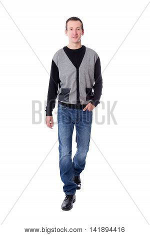 Full Length Portrat Of Handsome Middle Aged Man Walking Isolated On White