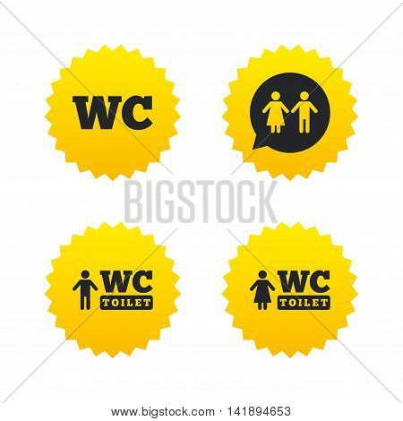 WC Toilet icons. Gents and ladies room signs. Man and woman speech bubble symbol. Yellow stars labels with flat icons. Vector