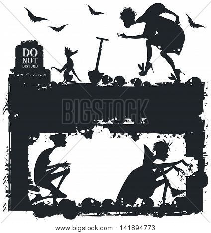 Black and white Halloween illustration with silhouettes for greeting card, poster and banner.