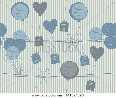 Holiday seamless pattern with gifts hearts and balloons. Stylish background for your designs. Vector image.
