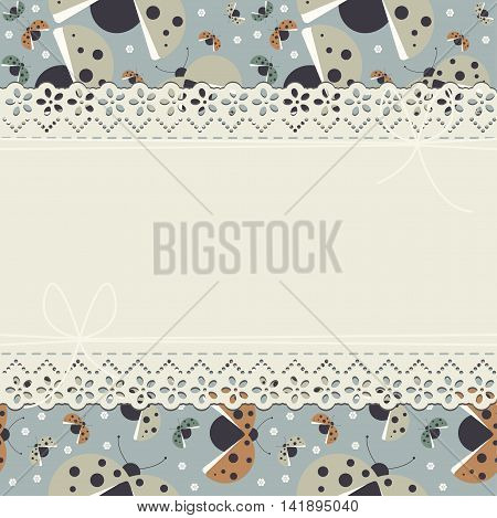 Childish horizontal lace frame with decorative ladybugs can be used for baby birthday invitation ,greeting card, baby shower and more designs.