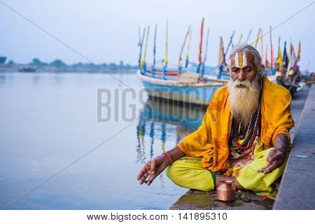 VRINDAVAN, INDIA - OCT 10th - An old sadhu wearing tilak on his forehead, denoting his devotion to Krishna on October 10th 2009.