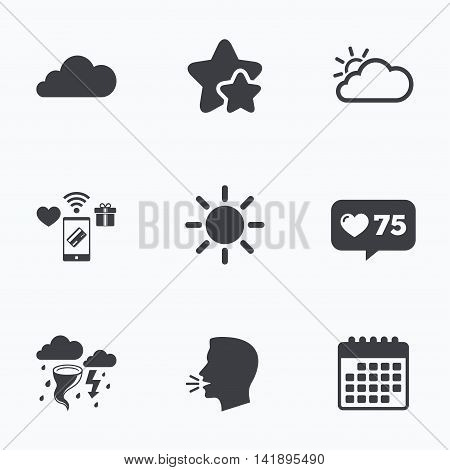 Weather icons. Cloud and sun signs. Storm or thunderstorm with lightning symbol. Gale hurricane. Flat talking head, calendar icons. Stars, like counter icons. Vector