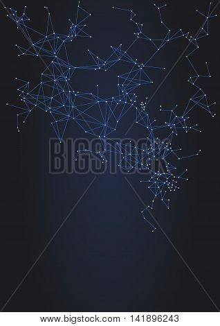 Vector geometric wireframe background with lines and dots connected, molecule metaphor, science technology concept
