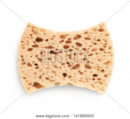 Artificial fiber kitchen sponge isolated over the white background