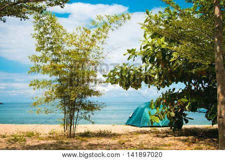Photo of the Camping Tent on Beach. Concept tourism, active rest, vacation