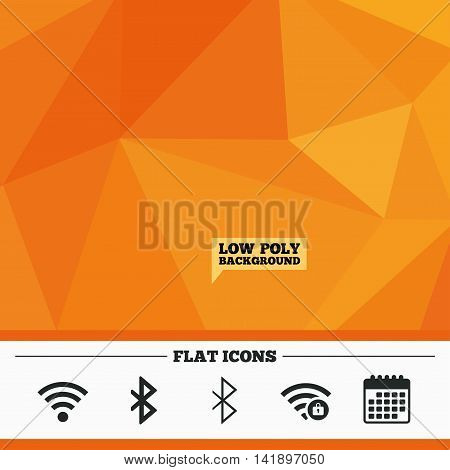 Triangular low poly orange background. Wifi and Bluetooth icons. Wireless mobile network symbols. Password protected Wi-fi zone. Data transfer sign. Calendar flat icon. Vector