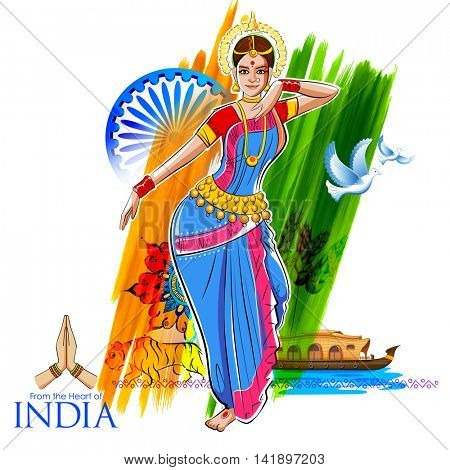 illustration of female dancer dancing on Indian background showing colorful culture of India
