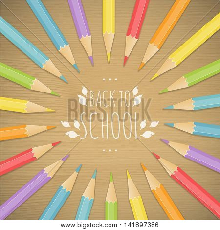School background with multicolored pencils on the wooden texture. Vector illustration.